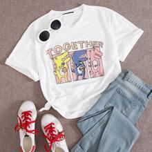 T-Shirt mit Buchstaben & Karikatur Grafik