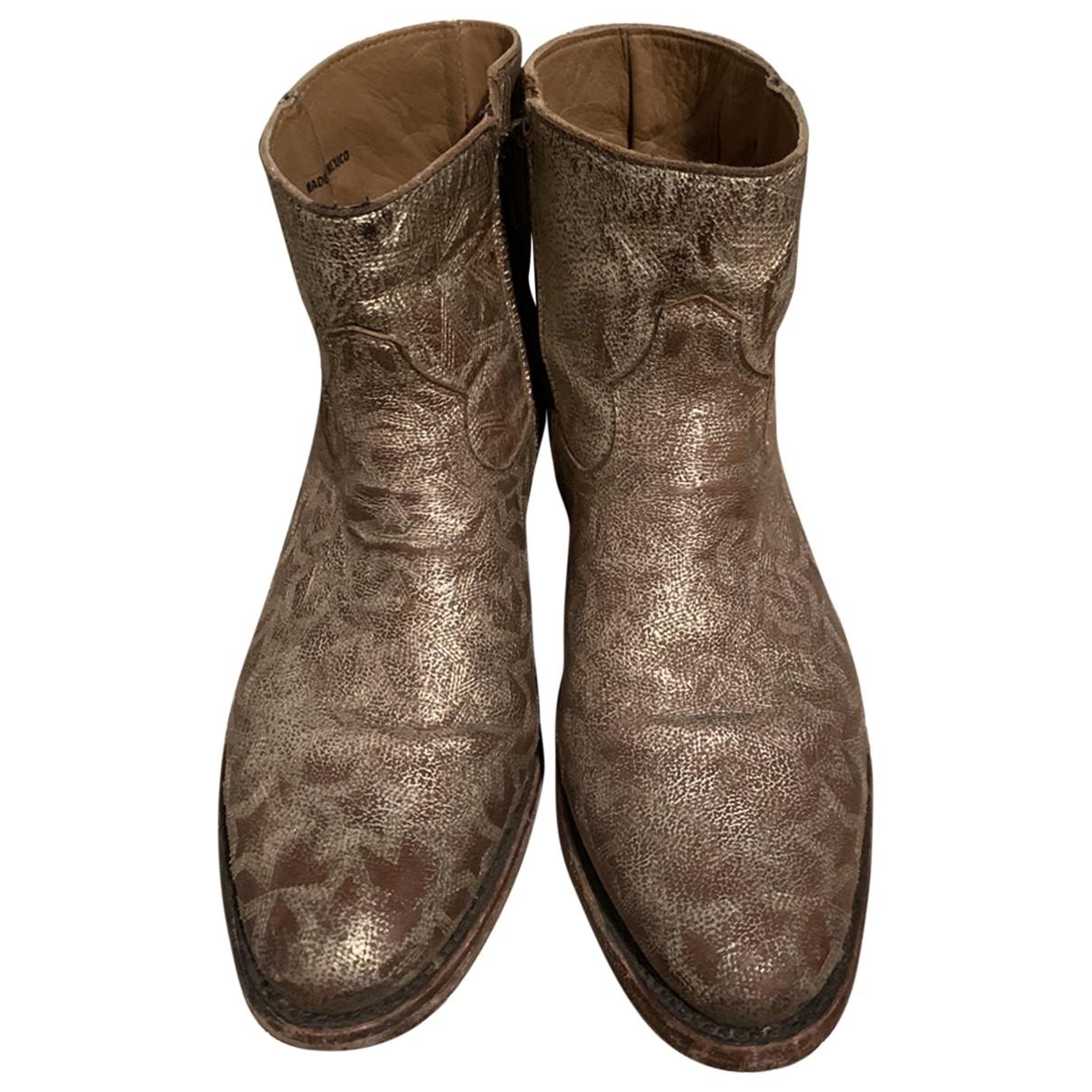Ash - Boots   pour femme en cuir - dore