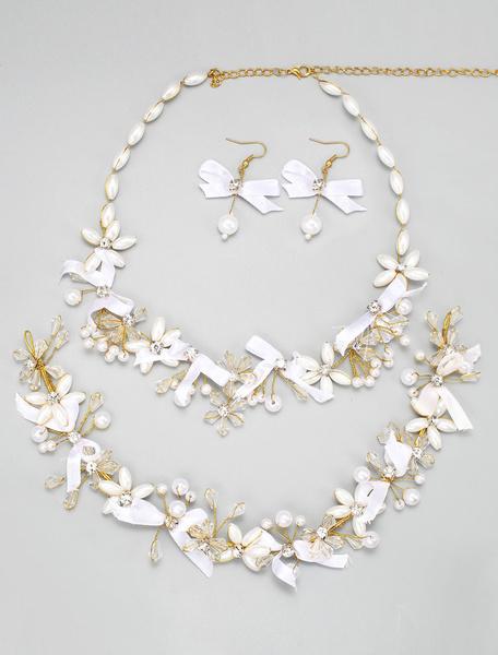Milanoo Boda joyeria conjuntos cinta arco diamantes de imitacion perlas joyeria nupcial de oro juegos