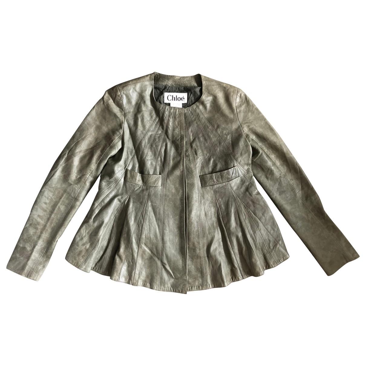Chloé \N Khaki Leather jacket for Women 36 FR
