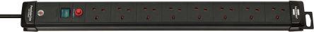 brennenstuhl 3m 8 Socket BS 1363 Extension Lead, Black