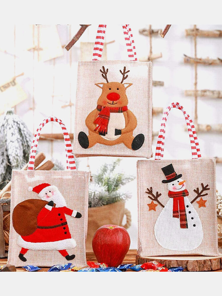 Women Linen Christmas Candy Bag Handbag