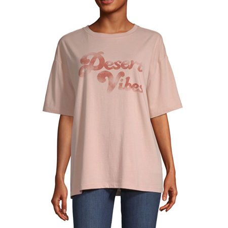 ARIZONA CREW NECK OVERSIZED GRAPHIC TEE, X-small , Pink