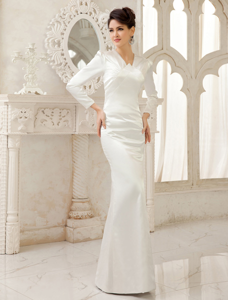 Milanoo Ivory Sheath V-Neck Floor-Length Bridal Wedding Dress