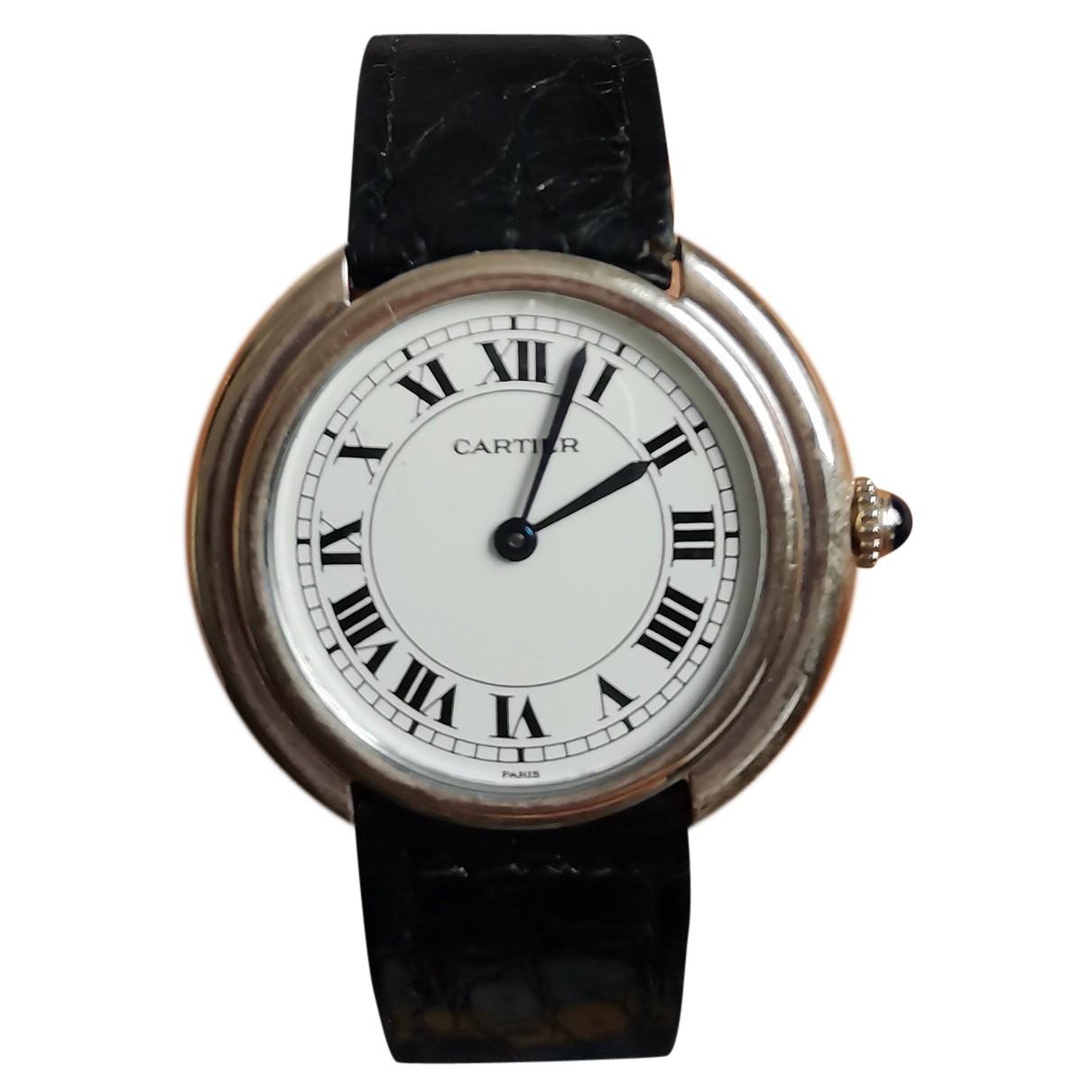 Cartier - Montre Must Vendome  pour homme en or blanc - noir