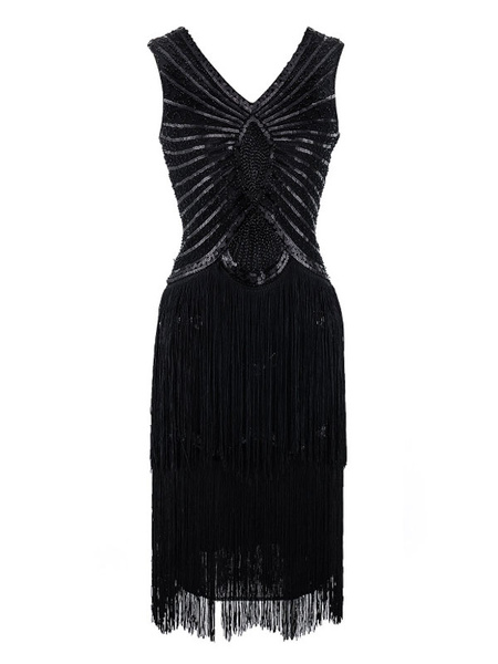 Milanoo Flapper Dress Great Gatsby 1920s Fashion Style Outfits Vintage Costume Tassels Women Sequin Dresses Halloween