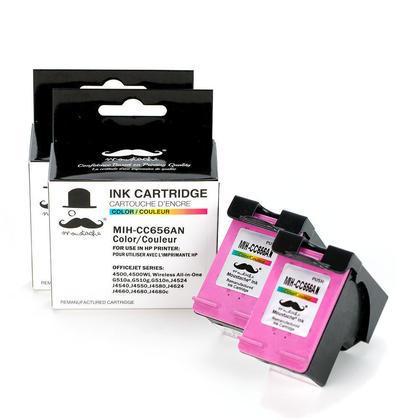 Compatible HP 901 CC656AN Color Ink Cartridge - Moustache - 2/Pack