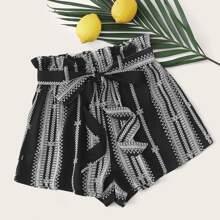 Paperbag Waist Self Belted Tribal Shorts