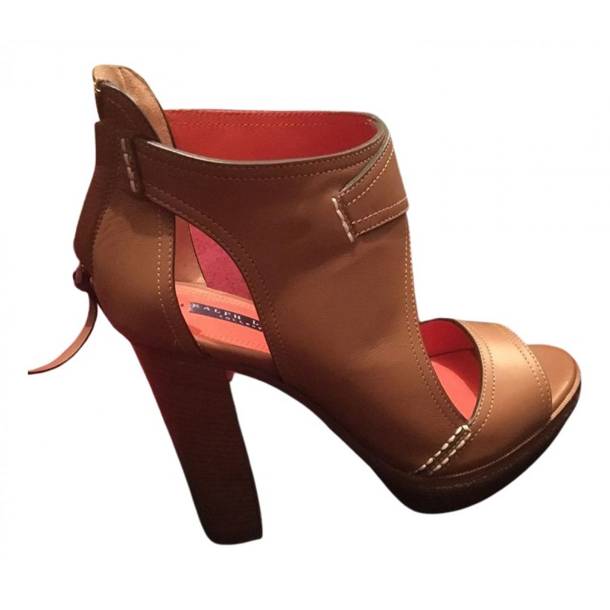 Ralph Lauren - Sandales   pour femme en cuir - kaki