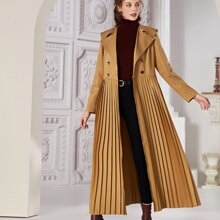 Solid Double Button Belted Pleated Coat