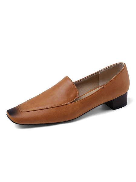 Milanoo Zapatos de tacon medio bajo para mujer Albaricoque Punta cuadrada Tacon grueso Slip On Pumps