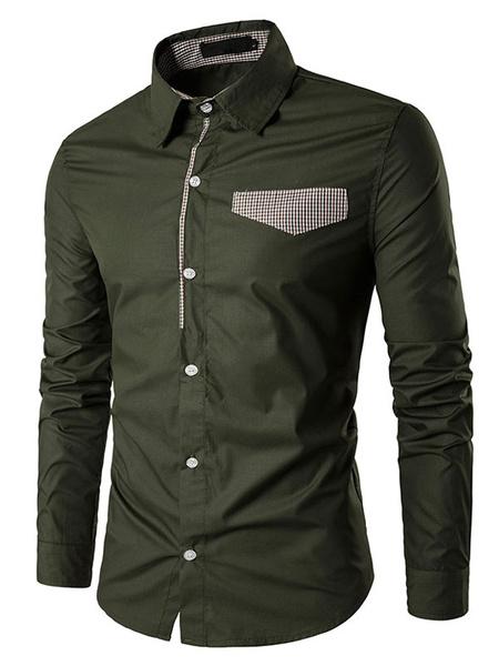 Milanoo Camisas casuales de algodon mezclado de cuello vuelto con manga larga de color-blocking estilo informalPrimavera
