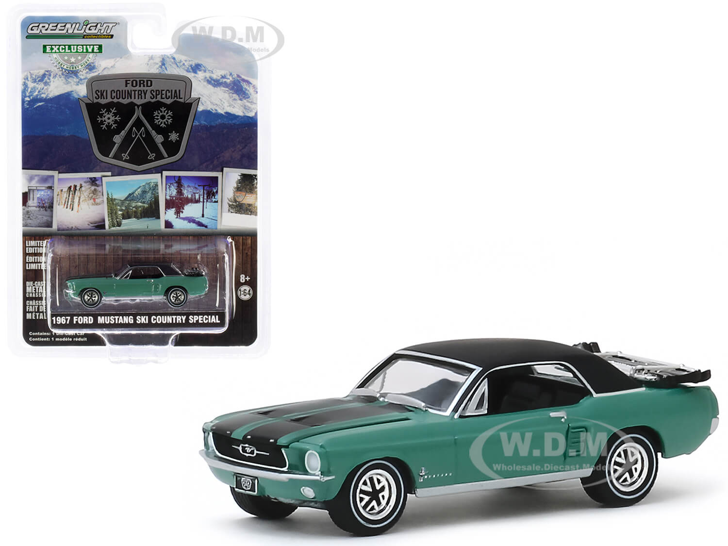 1967 Ford Mustang Coupe Loveland Green Metallic with Black Stripes and Black Top and a Pair of Skis