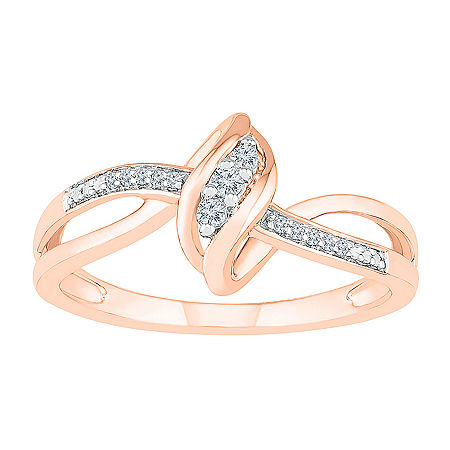 Womens Diamond Accent Genuine White Diamond 10K Rose Gold Cocktail Ring, 6 , No Color Family