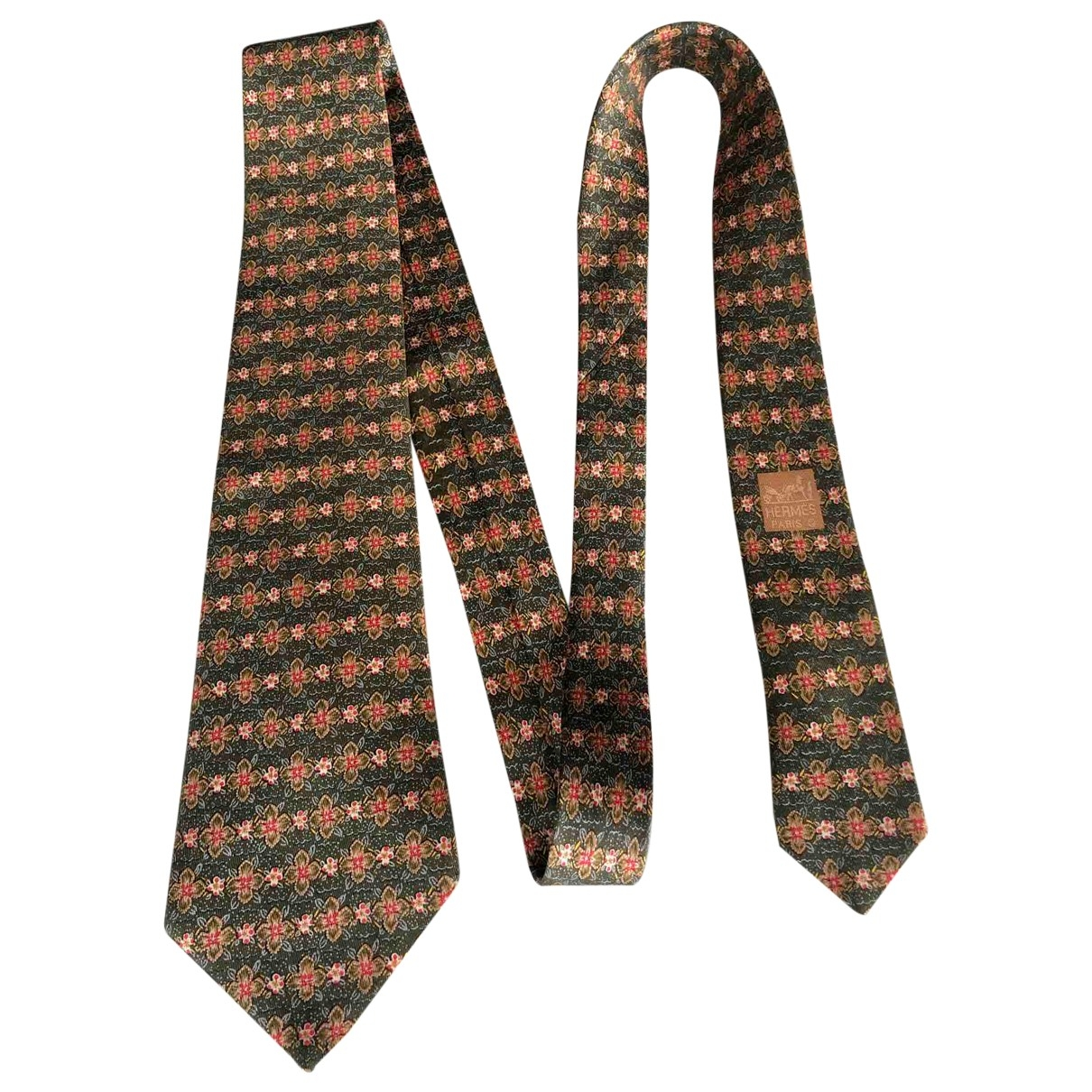 Hermes \N Krawatten in  Khaki Seide