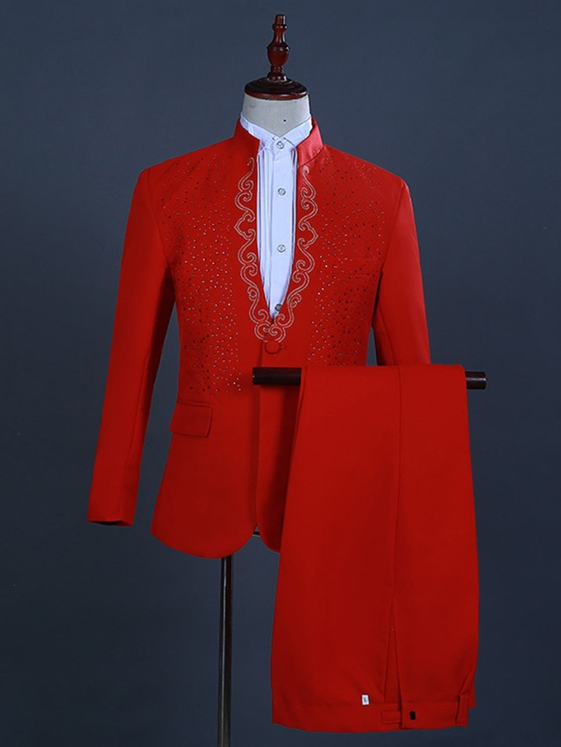 Ericdress Zipper Fashion Color Block Men's Dress Suit