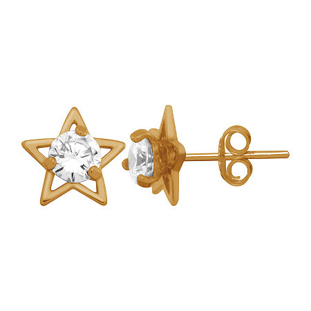 Itsy Bitsy Cubic Zirconia 14K Gold Over Silver 8.4mm Star Stud Earrings, One Size , No Color Family