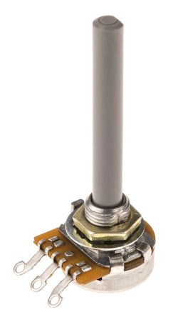 TE Connectivity 1 Gang Rotary Carbon Potentiometer with an 6.35 mm Dia. Shaft - 4.7kΩ, ±20%, 0.2W Power Rating,
