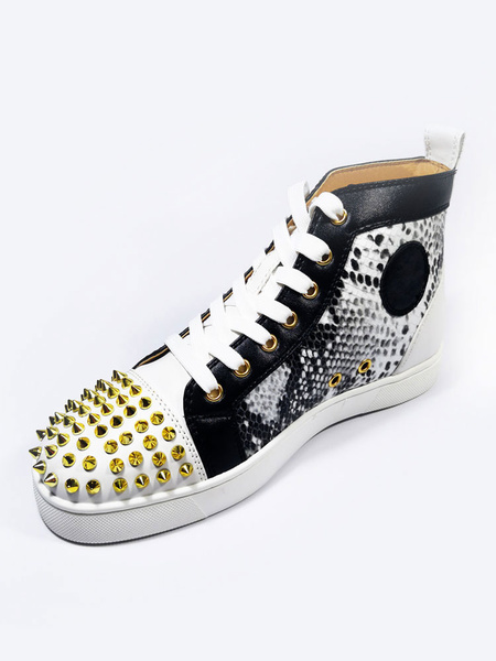 Milanoo Mens Blac  Sneakers 2020 High Top Shoes Cowhide Round Toe Rivets Printed Lace Up Skate Shoes