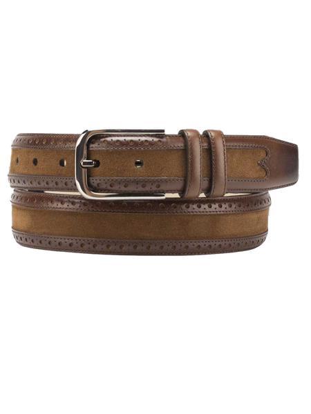 Mezlan Brand Men's Genuine Suede / Calfskin Cognac Skin Belt