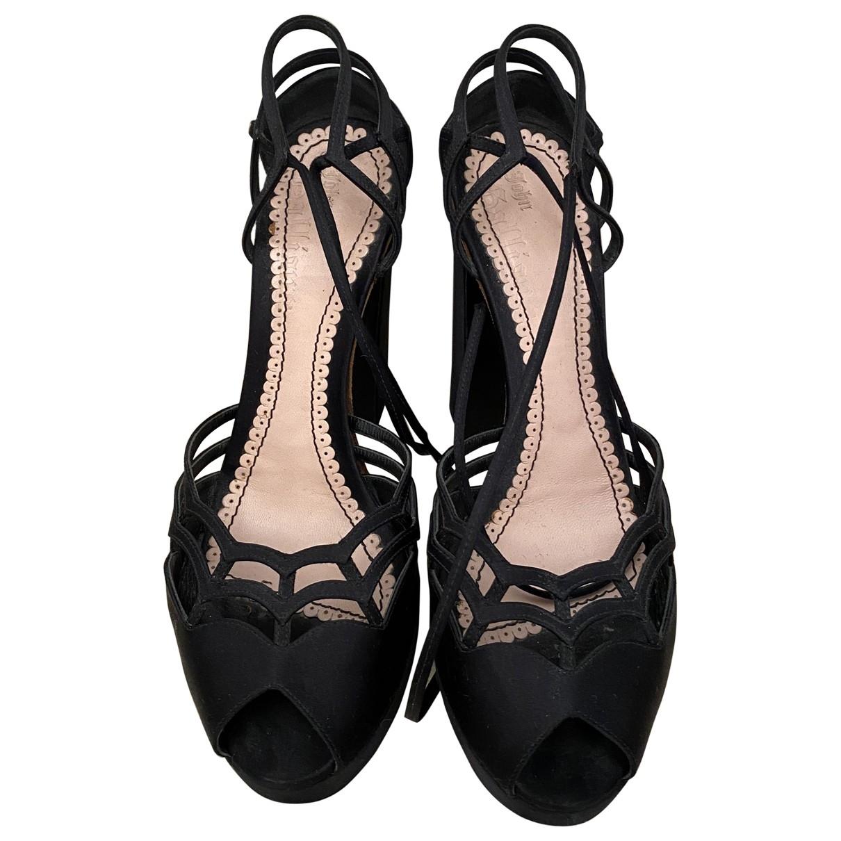 John Galliano \N Black Cloth Sandals for Women 38.5 EU
