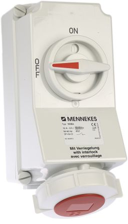 MENNEKES Switchable IP67 Industrial Interlock Socket 3PN+E, Earthing Position 6h, 32A, 400 V, Red