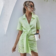 Solid Knot Ruched Shirt Dress