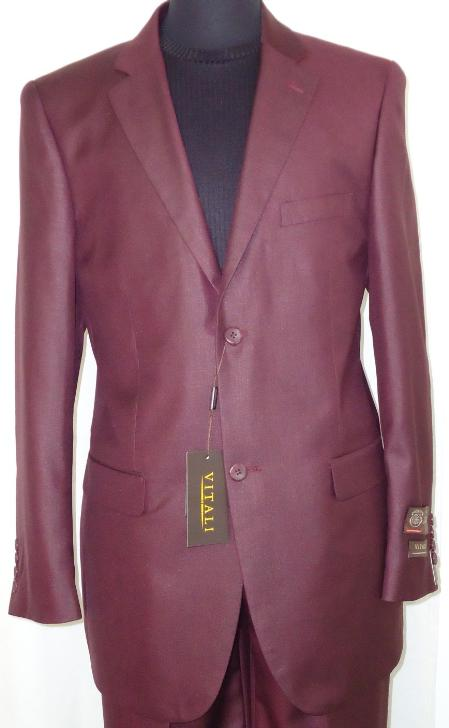 Mens Designer 2Button Shiny Burgundy Sharkskin Suit