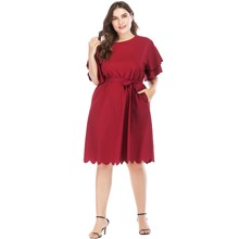 Plus Solid Scallop Trim Belted Dress