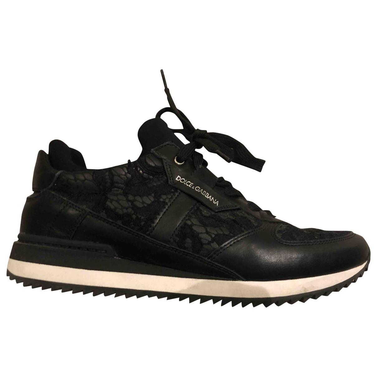 Dolce & Gabbana \N Black Leather Trainers for Women 38 EU