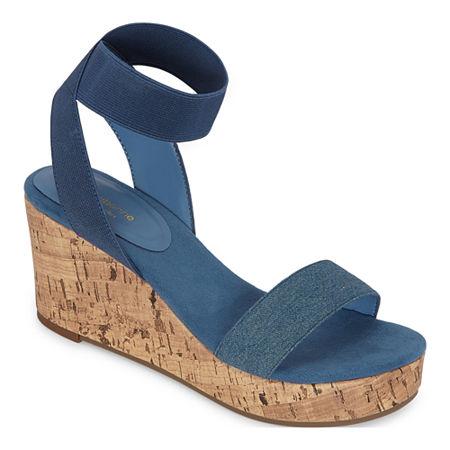 Liz Claiborne Womens Hapur Wedge Sandals, 10 Medium, Blue