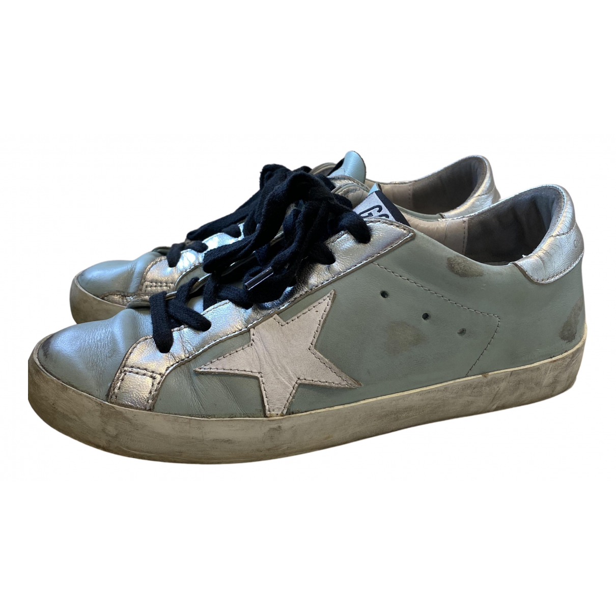 Golden Goose Superstar Blue Leather Trainers for Women 37 EU