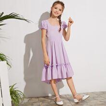 Kleid mit U Kragen, Ruesche und Raffungsaum