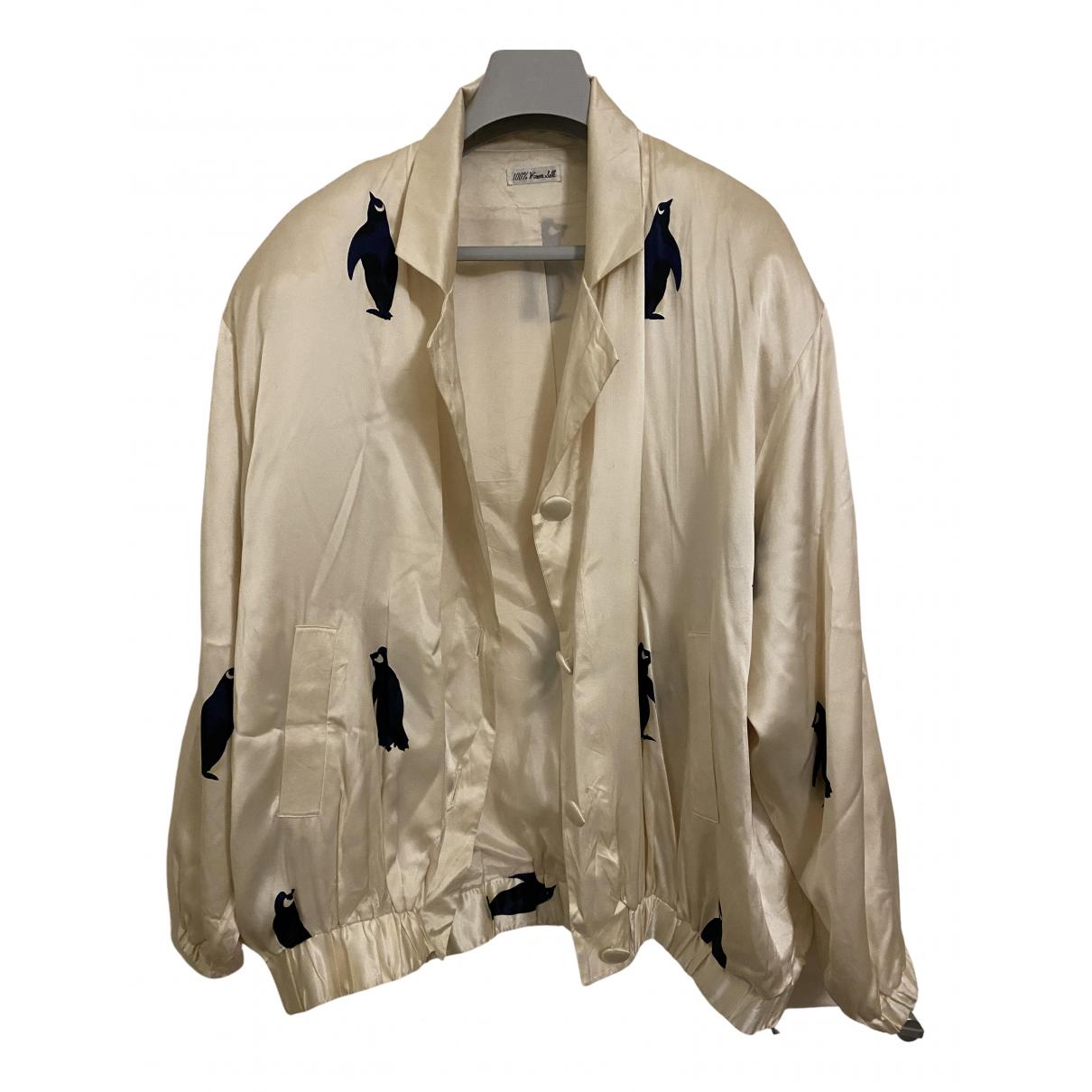 - Veste   pour femme en soie - beige