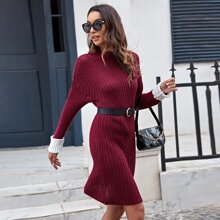 Strick Pullover Kleid mit Kontrast und Manschetten ohne Guertel