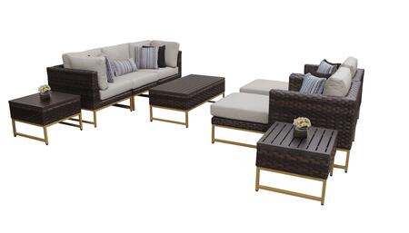 Barcelona BARCELONA-10c-GLD-BEIGE 10-Piece Patio Set 10c with 2 Corner Chairs  2 Club Chairs  1 Armless Chair  1 Coffee Table  2 Ottomans and 2 End