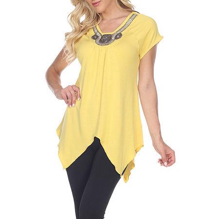 White Mark Womens V Neck Short Sleeve Tunic Top, Small , Yellow