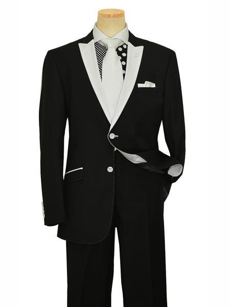 Mens 2 Button White Peak Lapel Black Slim Fit Suit