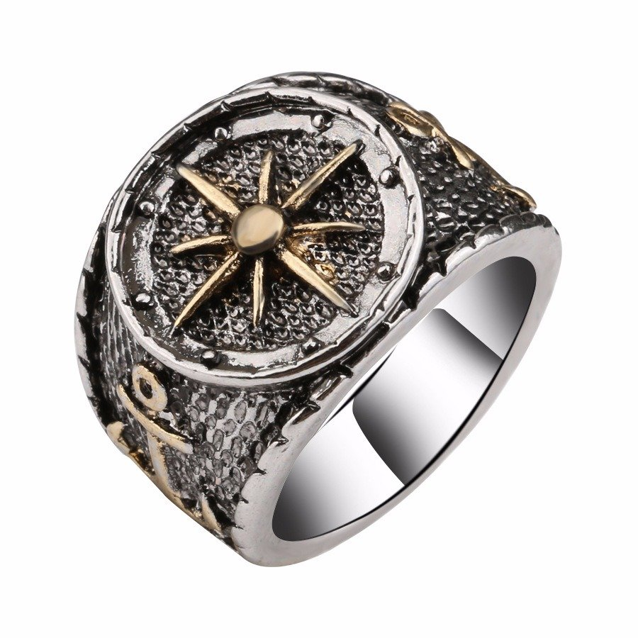 Vintage Finger Rings Antique Silver Astrolabium Compass Pattern Rings Ethnic Jewelry for Men