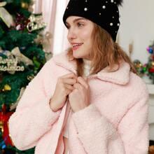 Christmas Solid Zip Up Teddy Jacket