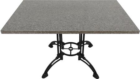 Q405 24X30-CA28-34D 24x30 Storm Gray Quartz Tabletop with 24 Ornate Matte Black Dining Height Table Base w/ Umbrella Hole