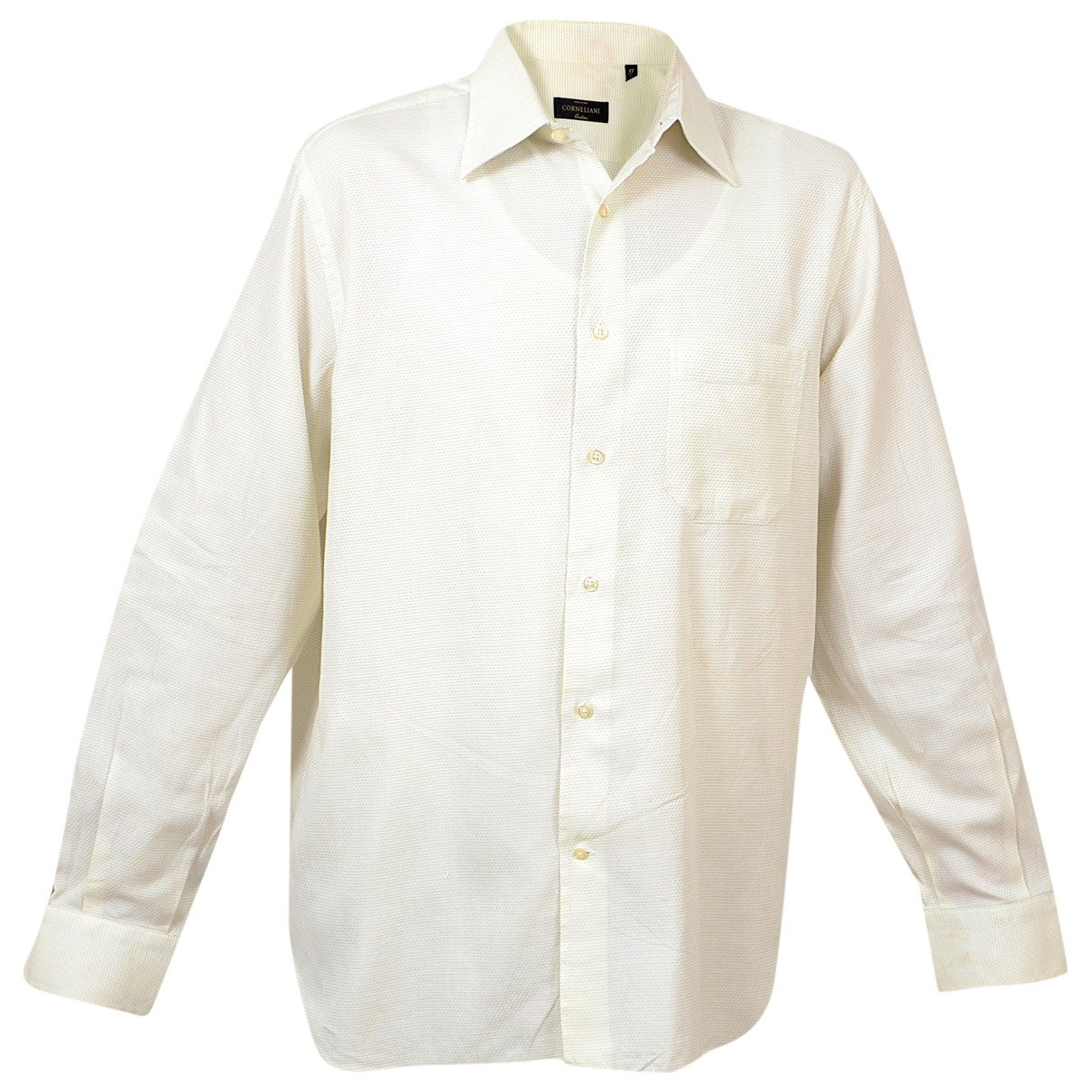 Corneliani \N White Cotton Shirts for Men 43 EU (tour de cou / collar)