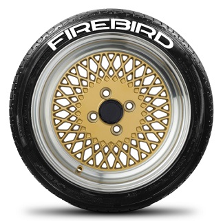 Tire Stickers FIREBIRD-1718-125-4-B Permanent Raised Rubber Lettering 'Firebird' Logo - 4 of each - 17