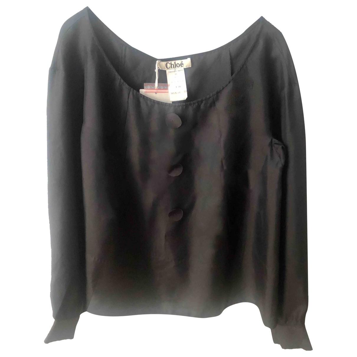 Chloe - Top   pour femme en soie - noir