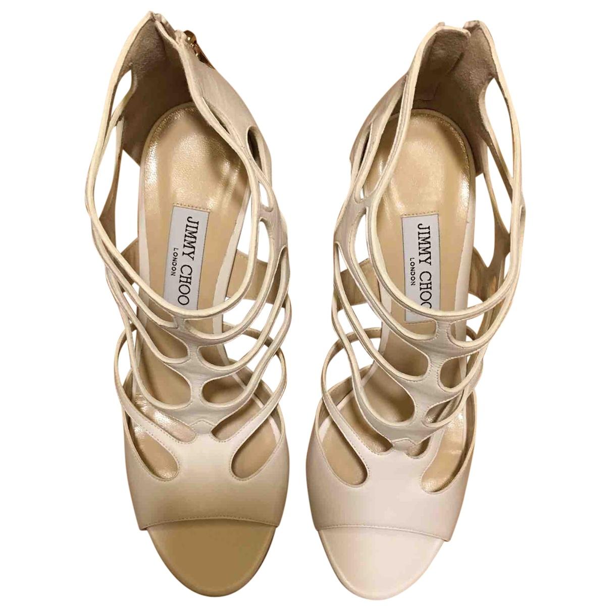 Jimmy Choo \N White Leather Sandals for Women 40.5 EU