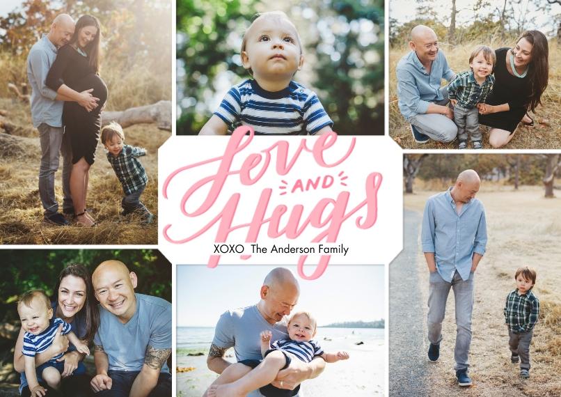 Valentine's Cards 5x7 Cards, Standard Cardstock 85lb, Card & Stationery -Valentine Love & Hugs Handlettered