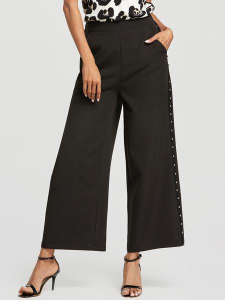 Yoins Black Beaded Details High-Waisted Wide Leg Pants