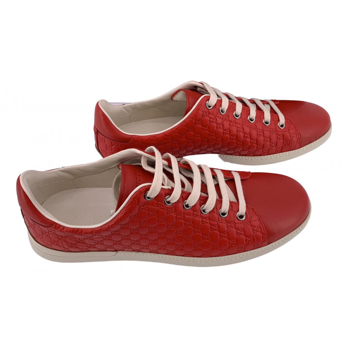 Gucci - Baskets   pour femme en cuir - rouge
