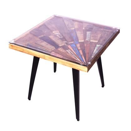 UPT-197219 Square Wooden End Table with Sunburst Design Glass Inserted Top