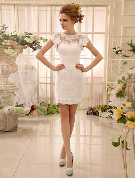 Milanoo Ivory Wedding Dresses 2020 Cut Out Buttons Lace Short bridal dress